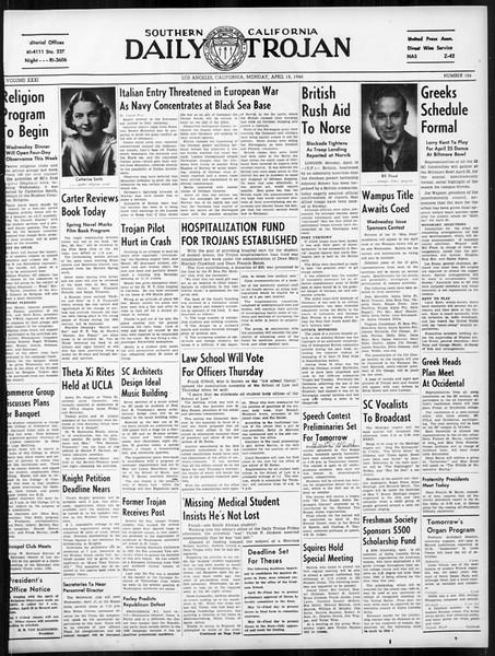 Daily Trojan, Vol. 31, No. 124, April 15, 1940