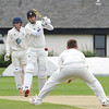 A caught and bowled chances drops short of Liam Sweeney
