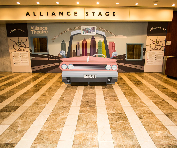 Outside the Alliance Theater entrance is a reminder that the stage is  under rennovation for the 2017-2018 season.  All Alliance shows are taking place at other area theaters as the seating structure and stages are rebuilt and updated.  Rehearsal spaces are being added, costuming storage and creation has moved to larger, naturally lit locations and an interior staircase is being added to the facility.  (Jenni Girtman / Atlanta Event Photography)