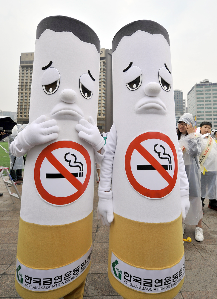 "Description of . South Korean activists wear cigarette-shaped outfits during a campaign marking the World No Tobacco Day in Seoul on May 31, 2011.  Observed around the world every year on May 31, World No Tobacco Day created by the World Health Organisation (WHO) this year has the theme ""The WHO Framework Convention on Tobacco Control\"".  AFP PHOTO/JUNG YEON-JE"