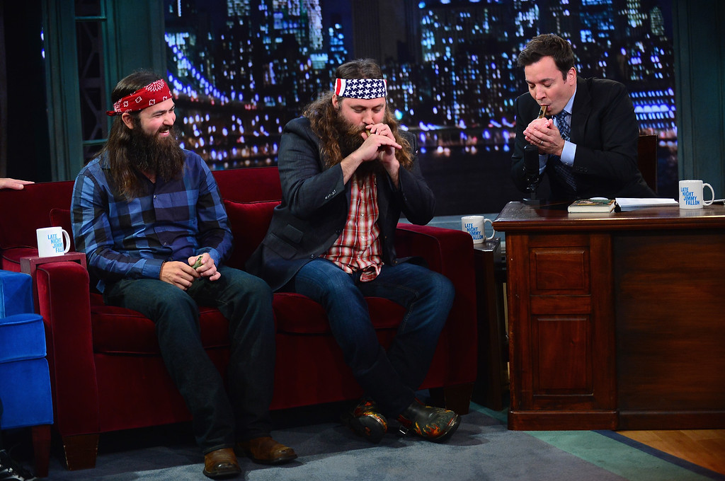 """. Jase Robertson, Willie Robertson and Jimmy Fallon during a taping of \""""Late Night With Jimmy Fallon\"""" at Rockefeller Center on September 9, 2013 in New York City.  (Photo by Theo Wargo/Getty Images)"""