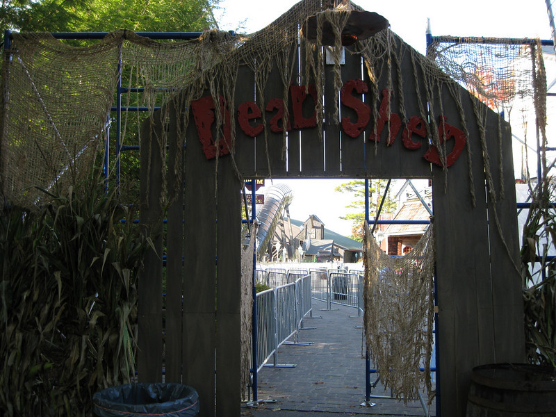 Entrance to the Dead Shed haunted house.