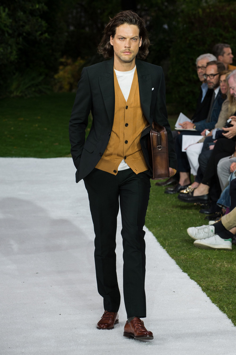 . A model walks the runway during the Berluti  show as part of the Paris Fashion Week Menswear Spring/Summer 2015 on June 27, 2014 in Paris, France.  (Photo by Francois Durand/Getty Images)