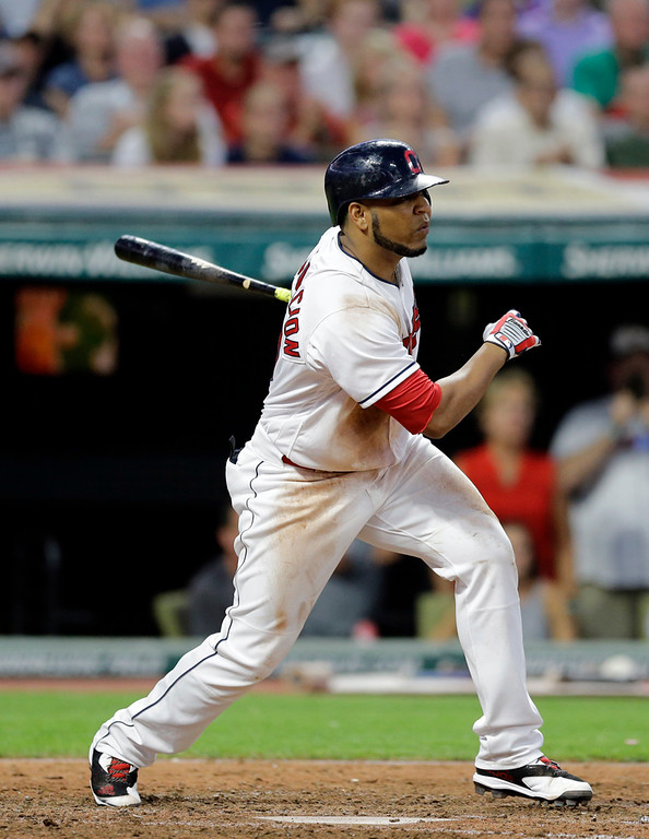 . Cleveland Indians\' Edwin Encarnacion hits a two-run double off Toronto Blue Jays starting pitcher Marco Estrada in the fifth inning of a baseball game, Friday, July 21, 2017, in Cleveland. Erik Gonzalez and Michael Brantley scored on the play. (AP Photo/Tony Dejak)