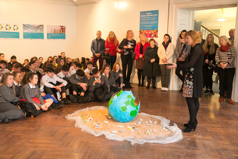 """15/01/2019. FREE TO USE IMAGE. Pictured at Garter Lane Arts Centre, Waterford city at an art exhibition """"the good, the bad and the ugly"""" that discusses plastics. Recycle, reuse, reduce, replace – WIT and Waterford schoolgirls to exhibit exceptional art installation with thought-provoking components made from household plastics. Picture: Patrick Browne"""