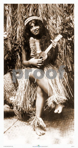 271: 'Hawaiian Girl With Ukulele' Photograph. 1916. (PROOF watermark will not appear on your print)