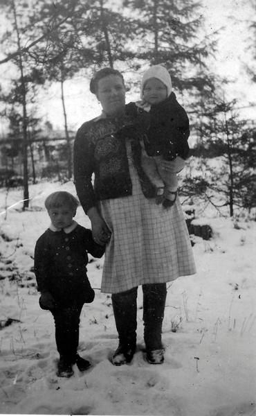 Nicky Bodar, mother Rosalia Bondar, and Olga Bondar 1948 - Puerten, Bavaria - DP Camp