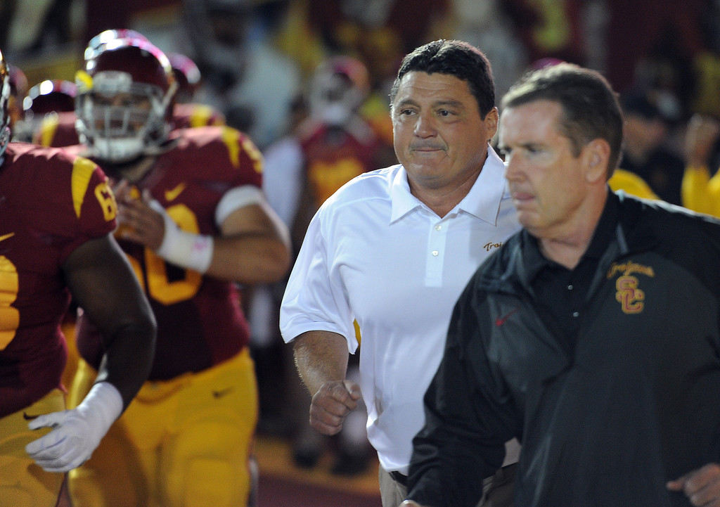 . USC interim coach Ed Orgeron during their game against Arizona at the Los Angeles Memorial Coliseum Thursday, October 10, 2013. USC defeated Arizona 38-31. (Photo by Hans Gutknecht/Los Angeles Daily News)