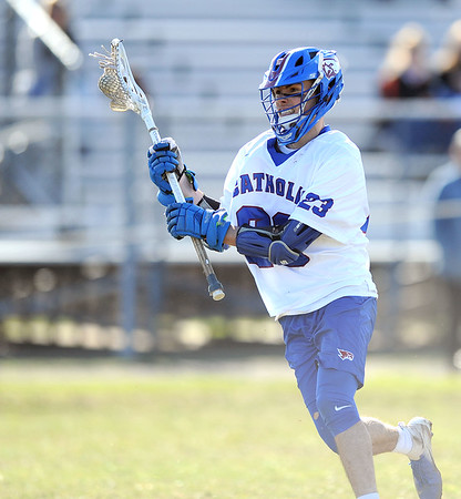 4/10/2019 Mike Orazzi | Staff St. Paul's Kevin Ashworth (23) during boys lacrosse in Bristol Wednesday.