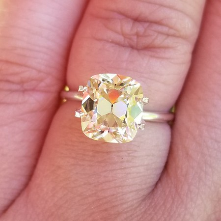 Loose 9 x 8mm Elongated Cushion Cut Moissanite in Light Yellow
