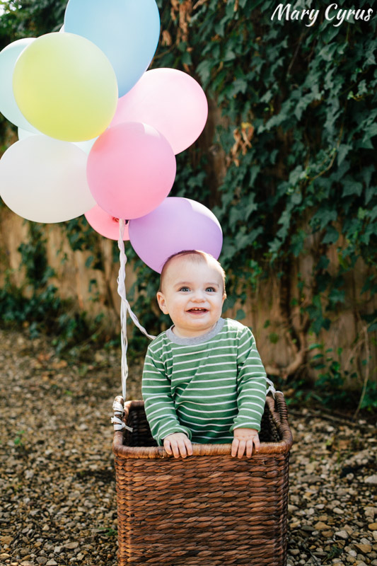 Child's Portrait with Hot Air Balloon Prop | Photo by Mary Cyrus Photography - Portraits & Events in Dallas & Beyond