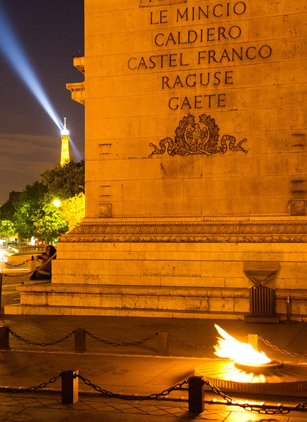 Eternal flame at Arc du Triomphe + Eiffel beacon