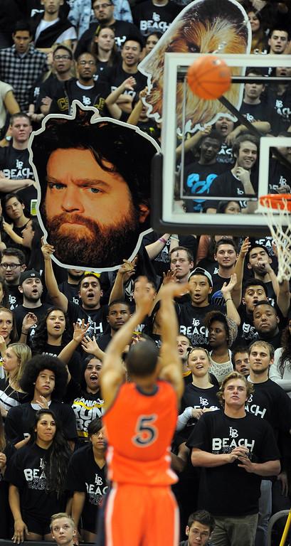 . LONG BEACH - 02/13/13 - (Photo: Scott Varley, Los Angeles Newspaper Group)  LBSU vs Fullerton men\'s basketball. 2nd half. LBSU won 85-65.
