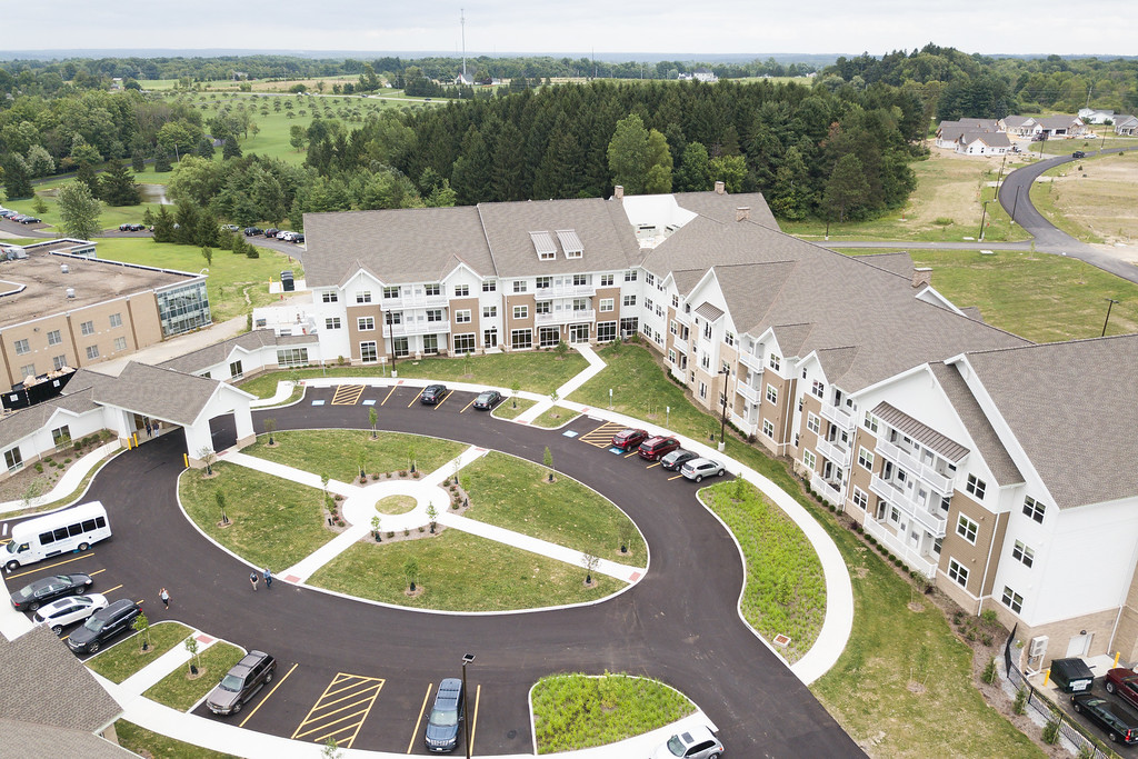 . Aerial view of the apartment building in the newly constructed Notre Dame Village. Submitted
