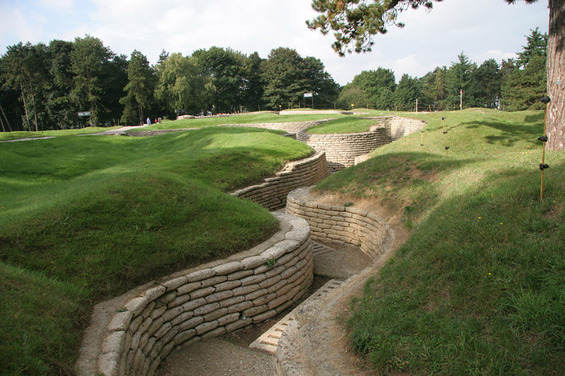 Preserved trenches at Vimy Ridge, the site of the Canadian National Memorial and Park (WW1).
