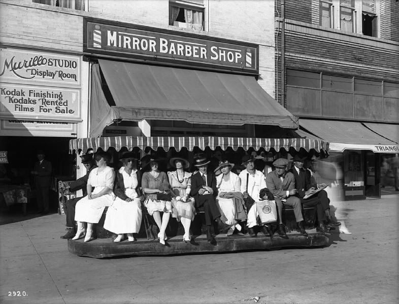 Electric sidewalk car in Venice, ca.1920
