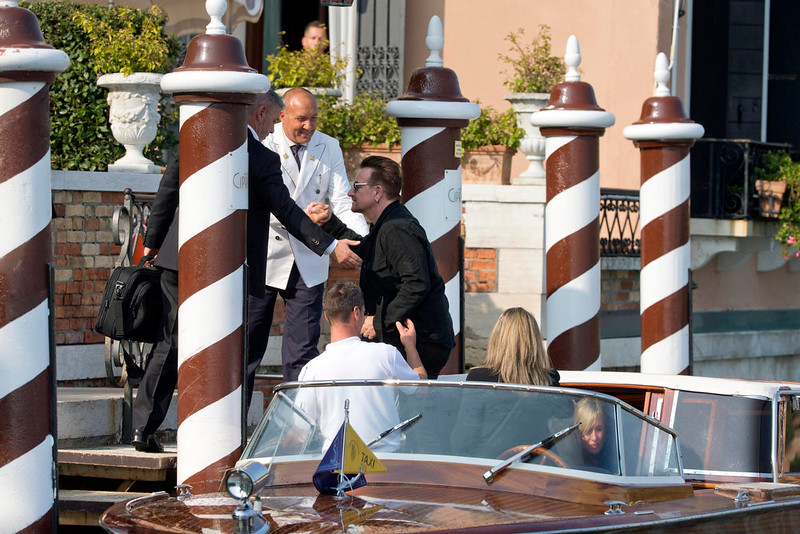. Bono Vox arrives at the Cipriani hotel in Venice, Italy, Saturday, Sept. 27, 2014. George Clooney, 53, and Amal Alamuddin, 36, are expected to get married this weekend in Venice, one of the world\'s most romantic settings. (AP Photo/Andrew Medichini)