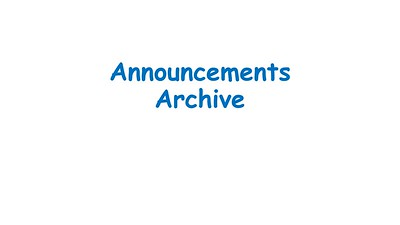 Announcement Archive