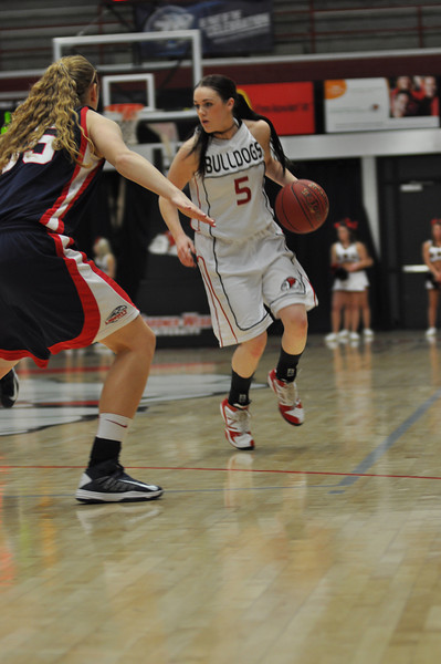 Lana Doran drives the ball against Liberty University on February 23, 2013.