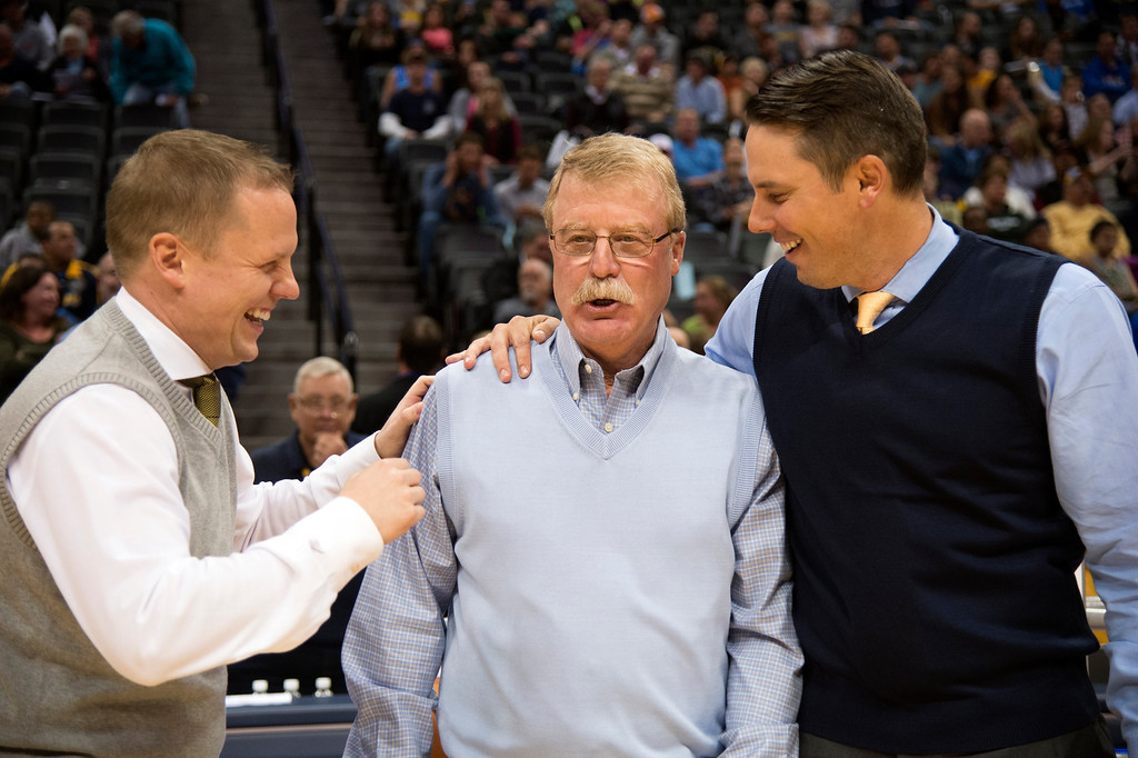 . DENVER, CO - APRIL 16: General Manager & Executive Vice President of Basketball Operations: Tim Connelly (L) and President and Governor Josh Kroenke share a laugh with Denver Nuggets trainer Jim Gillen before their game against the Golden State Warriors April 16, 2014 at Pepsi Center. Jim Gillen will retired from the organization after 23 years with the team. (Photo by John Leyba/The Denver Post)