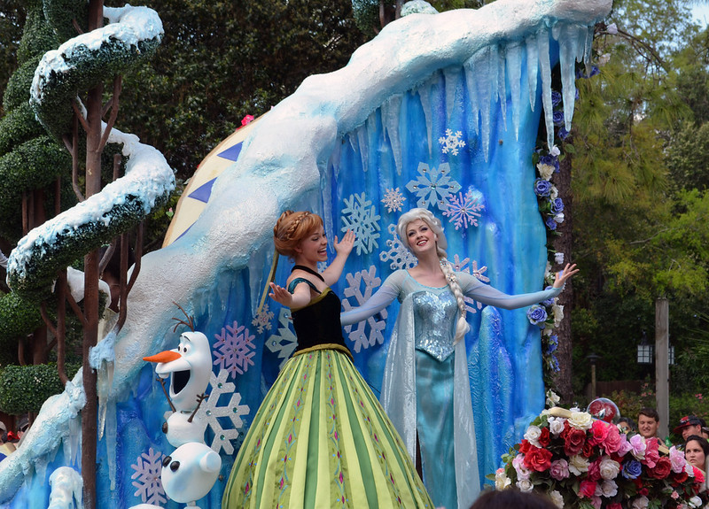 """Day 2: Anna and Elsa from Disney's """"Frozen"""" on a float in the Festival of Fantasy Parade at Walt Disney World's Magic Kingdom, photo by Dave Parfitt"""