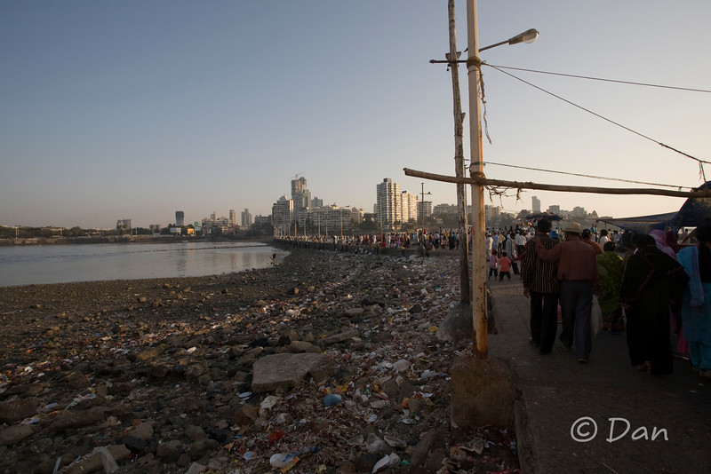 The Haji Ali mosque walkway.  This walkway is available during low tide.  In the evening, the walkway goes away when the tide comes in.