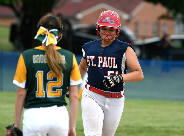 6/2/2018 Mike Orazzi | Staff St. Paul's Katelynn Oullette (51) rounds the bases after a three run home run during the Class S Quarterfinal softball game with Holy Cross in Bristol Saturday.