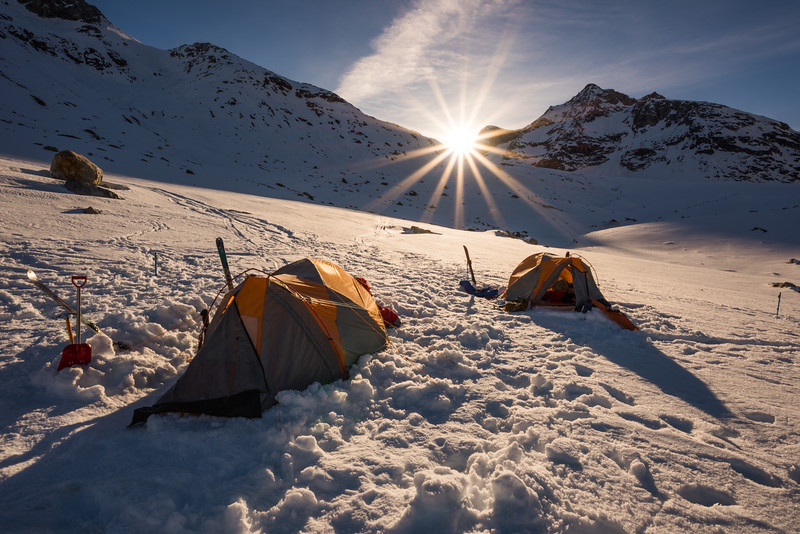 Sunrise over camp, East Greenland