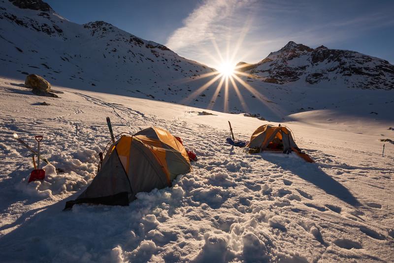 Sunrise over camp, East Greenland