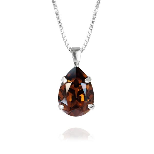 Mini Drop Necklace / Smoked Topaz Rhodium