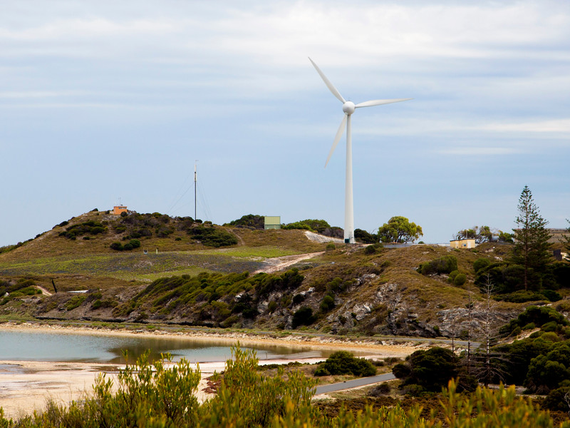 This wind turbine provides a third of the Island's power.