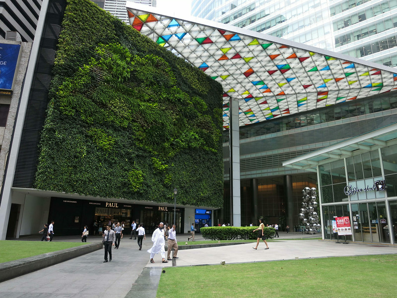 The 'green wall' is a map of Singapore.