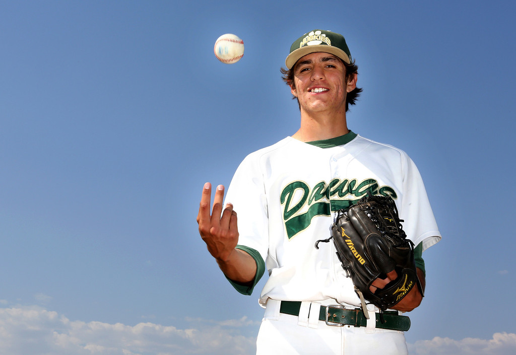 . Tribune Baseball Player of the Year, Adrian De Horta, is graduating from South Hills High School in West Covina, where he is a pitcher.  He plans to play baseball for Cal State Fullerton in the fall.  (Photo by Nancy Newman / SGVN Correspondent / NancyNB@earthlink.net )