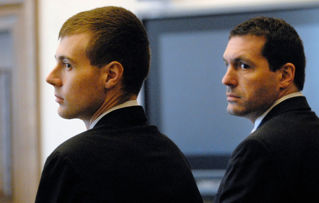 . Jeff Forman/JForman@News-Herald.com Nathaniel Brown, left, and his lawyer Matthew Bangerter watch as the jury enters Lake County Common Pleas Court Feb. 21.
