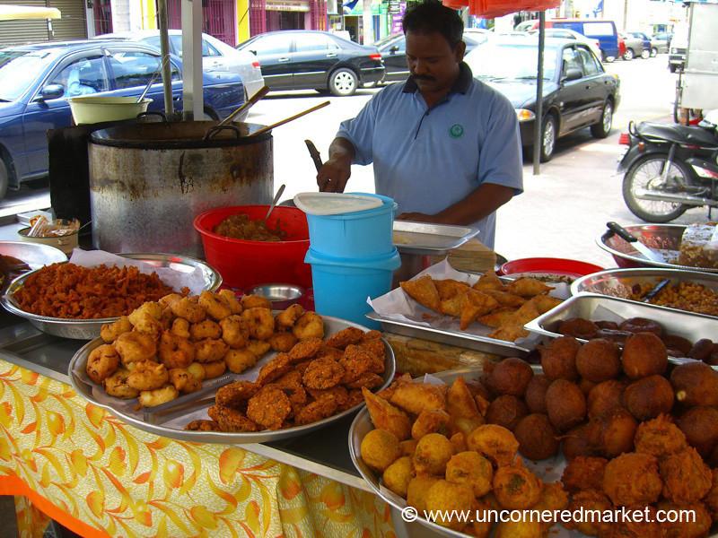 Samosa Master on Streets of Penang, Malaysia