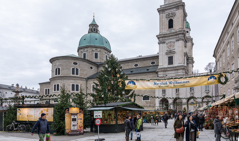 Entrance to Christmas Market - Salzburg Cathedral in background
