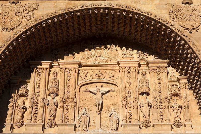 Detail from the Plateresque facade of San Esteban church, town of Salamanca, autonomous community of Castilla and Leon, Spain