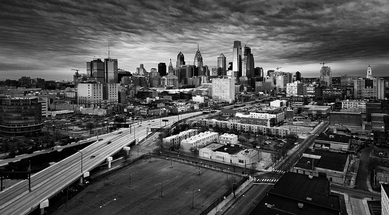 Center City Sunrise bw-.jpg
