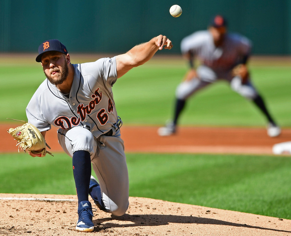 . Detroit Tigers relief pitcher Matt Hall delivers in the first inning of a baseball game against the Cleveland Indians, Saturday, Sept.15, 2018, in Cleveland. (AP Photo/David Dermer)
