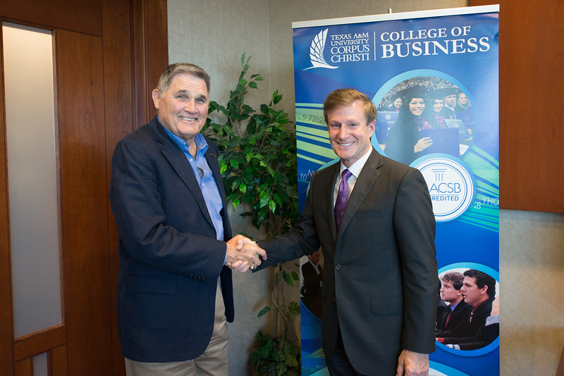Fred Braselton(left) and Dean John Gamble from the College of Business at TAMU-CC. During the Braselton Homes Endowed Scholarship in Entrepreneurship recognition signing. Monday November 23, 2015 at Texas A&M Corpus Christi - University.