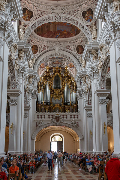 A view that shows only 1 of 5 sections of pipes of the large organ in St. Stephan's Cathedral.