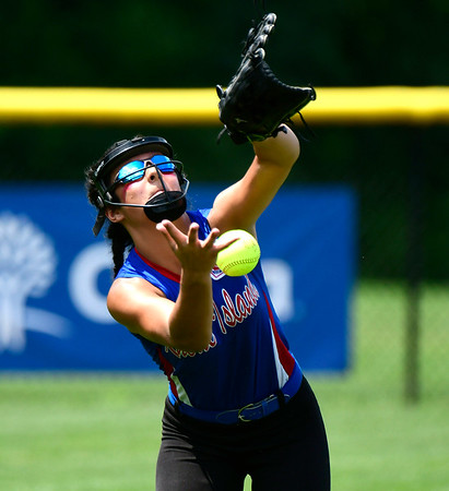 7/27/2018 Mike Orazzi | Staff Rhode Island's Ava Santo (9) during Friday's championship game with Pennsylvania during the Eastern Regional Little League final at Breen Field in Bristol.