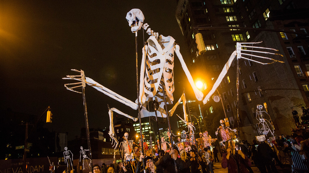 . Revelers participate in the annual New York City Halloween Parade on October 31, 2013 in New York City. The parade came back in force this year, after being cancelled last year due to Superstorm Sandy and losing approximately $50,000. Organizers used the social media site Kickstarter.com to raise more than $56,000 for this year\'s parade. (Photo by Andrew Burton/Getty Images)