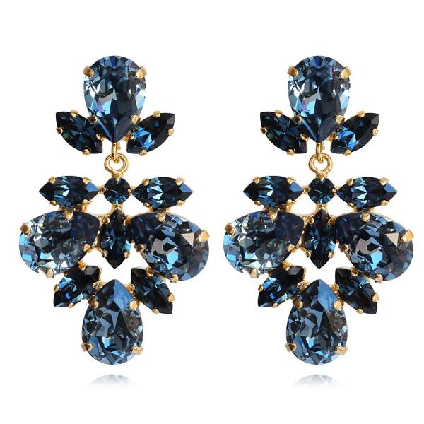 Selene Earrings / Denim Blue + Montana / Gold