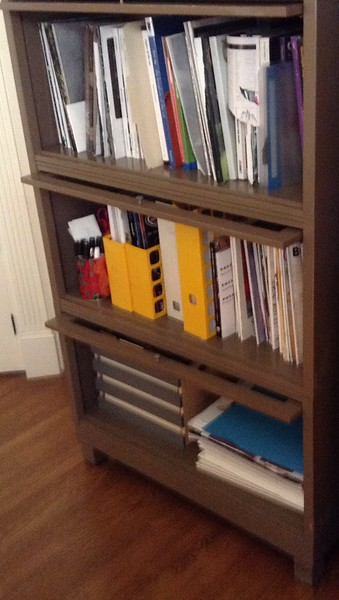 magazine and catalog storage cabinet