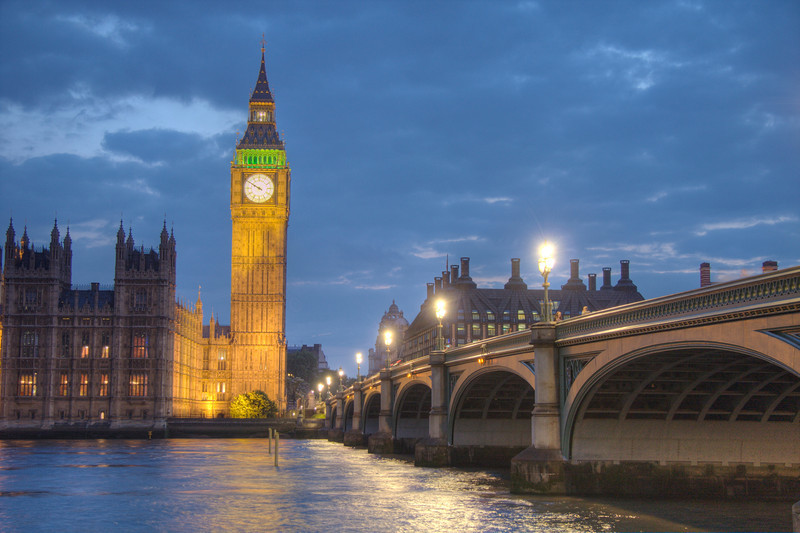 Big Ben and Westminster Bridge. London, UK (HDR)