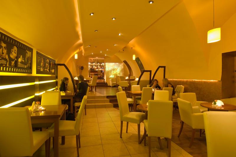 Poland, Cracow, modern cafe-bar on ulica Wislna