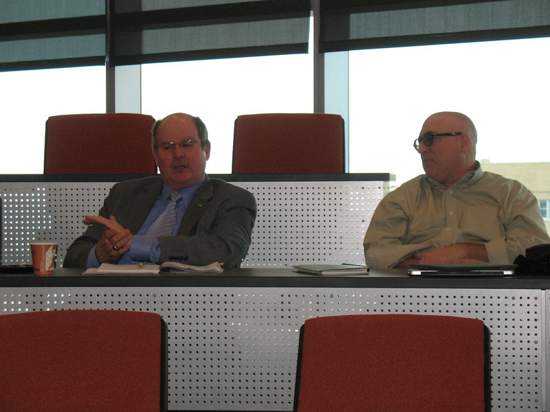 Paul Matthews (L) of RU's Planning & Resources dept discusses the university's waste management and recycling efforts