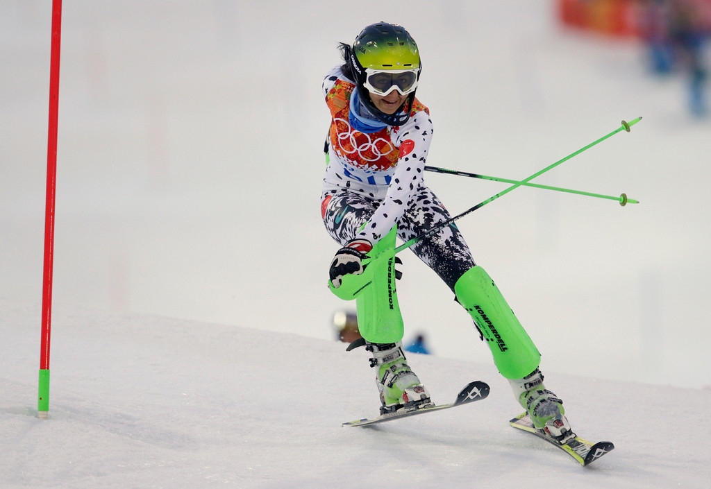 . Peru\'s Ornella Oettl Reyes skis out in the first run of the women\'s slalom at the Sochi 2014 Winter Olympics, Friday, Feb. 21, 2014, in Krasnaya Polyana, Russia. (AP Photo/Charles Krupa)
