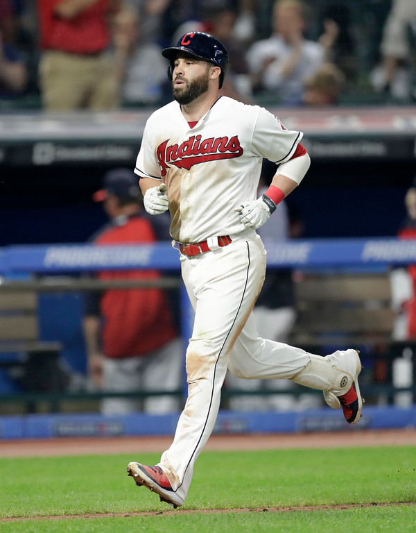 . Cleveland Indians\' Jason Kipnis runs the bases after hitting a solo home run off Minnesota Twins\' Matt Belisle in the sixth inning of a baseball game, Monday, Aug. 6, 2018, in Cleveland. (AP Photo/Tony Dejak)